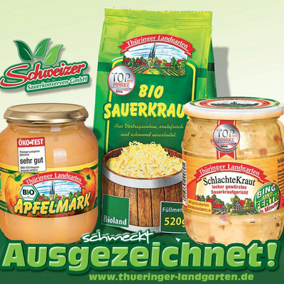 Anzeige mit Thüringer Landgarten-Produkten