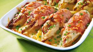 Chicoree Kartoffel Gratin mit Schinken