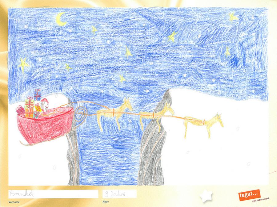 gezeichnete Bild: Rentierschlitten