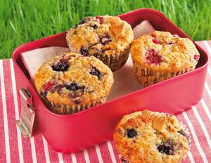 Beeren-Muffins mit Butterkeks-Crunch
