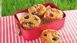 Beeren Muffins mit Butterkeks Crunch