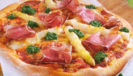 Spargelpizza Bauernschinken