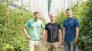 Team des Kastanienhofs vor einer Beerenhecke in einem Gewächshaus