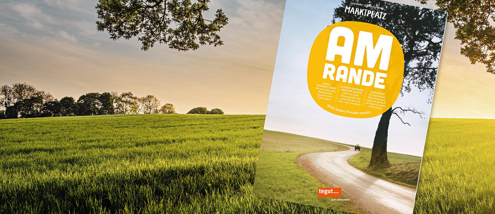 tegut Kundenmagazin Titel September/Oktober 2021 mit Feld und Bäumen im Hintergrund
