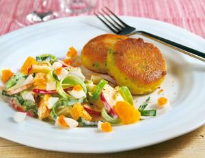 Lauchsalat mit Kartoffelplätzchen
