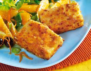 Gebratener Feta mit Orangen-Feldsalat