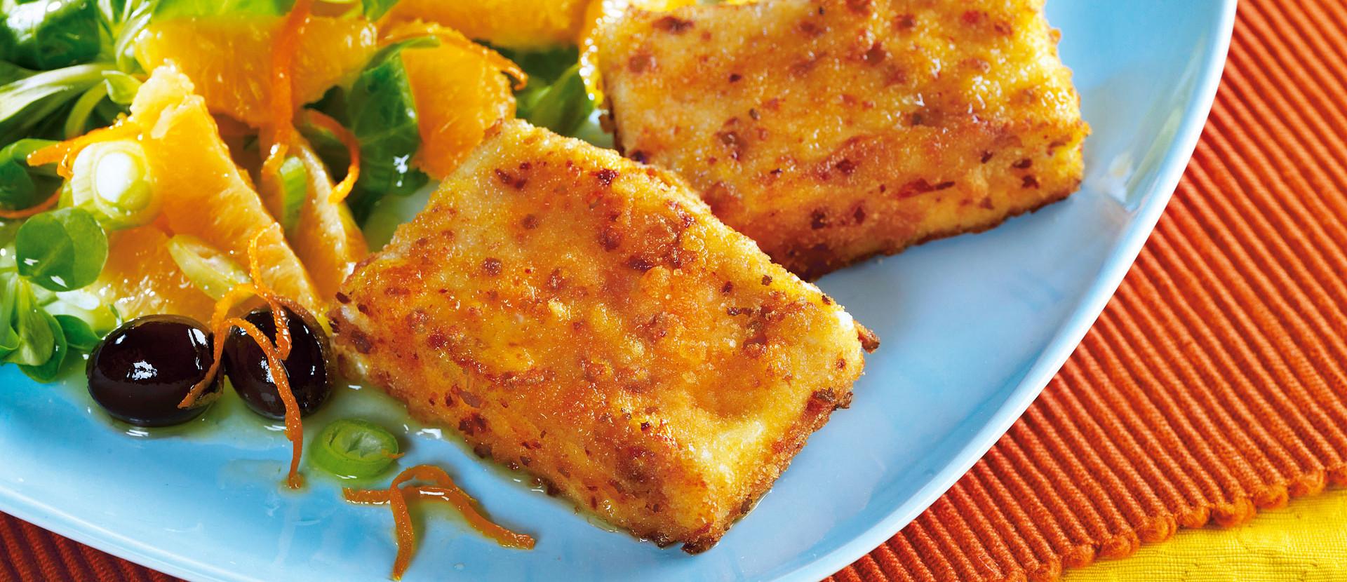 Gebratener Feta mit Orangen Feldsalat