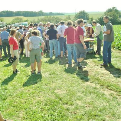 Besucher auf Wiese beim Traubentag des Spargelhof Braun