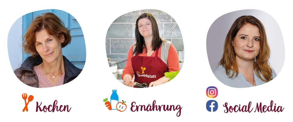 drei Mitarbeiter der tegut Kochwerkstatt zuständig für Kochen, Ernährung und Social Media