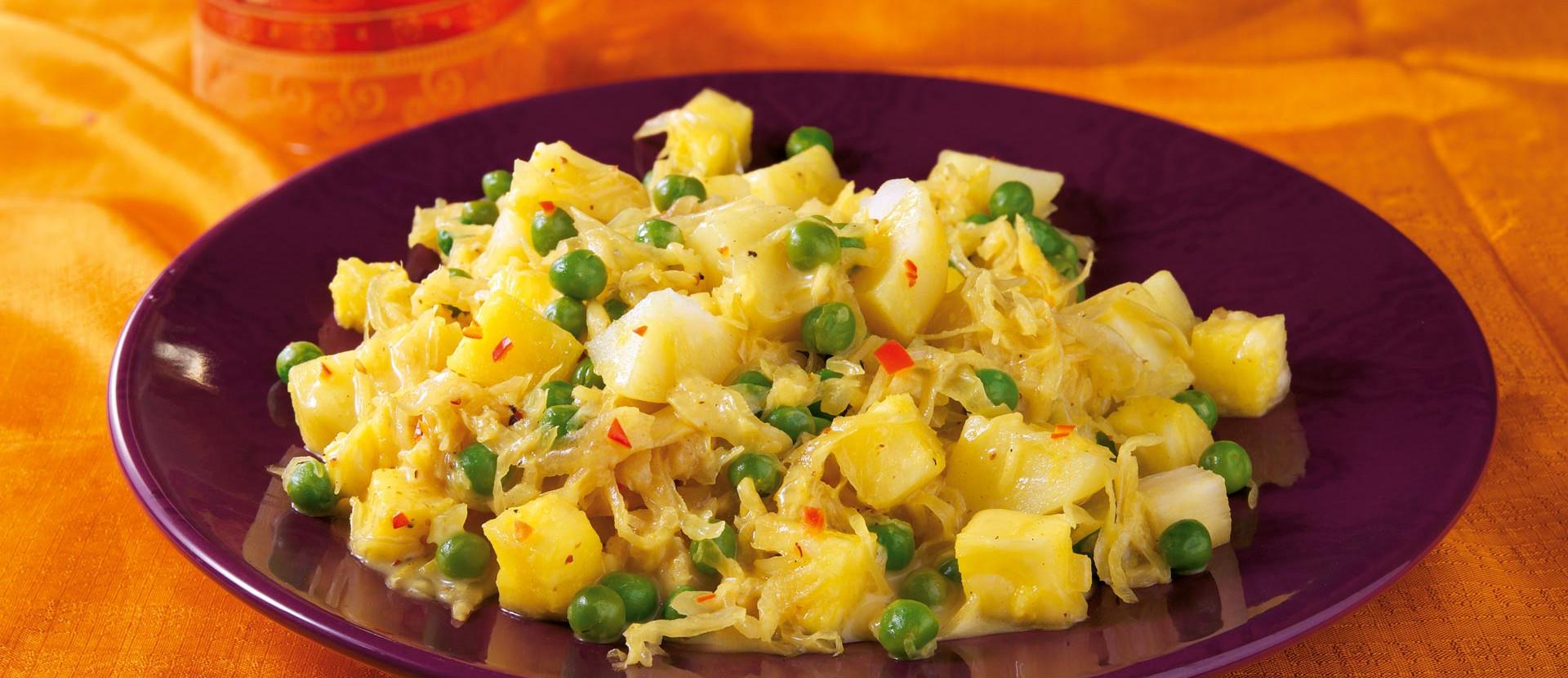 Sauerkraut Curry mit Ananas und Kokosmilch