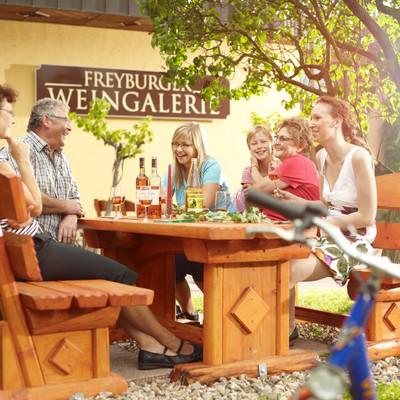 Familie sitzt an einer Tischgruppe im Garten