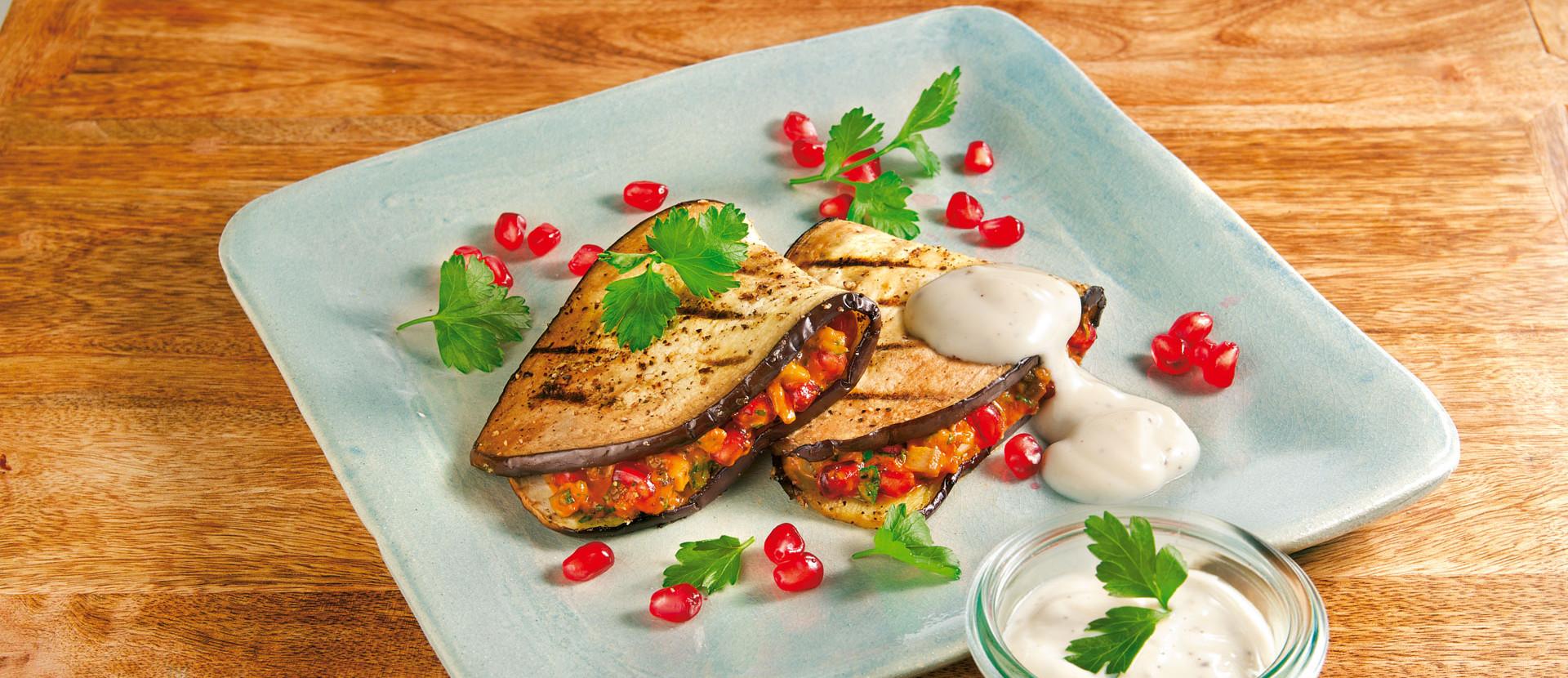 Auberginen Sandwich mit Granatapfel