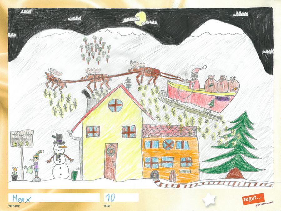gezeichnete Bild: Rentierschlitten mit Haus