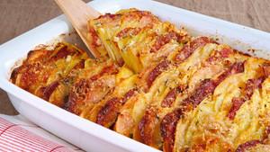 Kartoffel Steckrueben Auflauf mit Chorizo