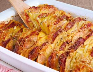 Kartoffel-Steckrüben-Auflauf mit Chorizo