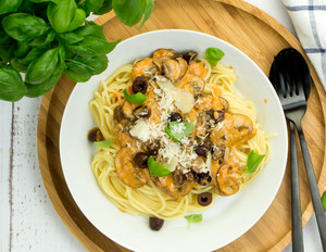 Spaghetti in Pilz-Sahne-Sauce