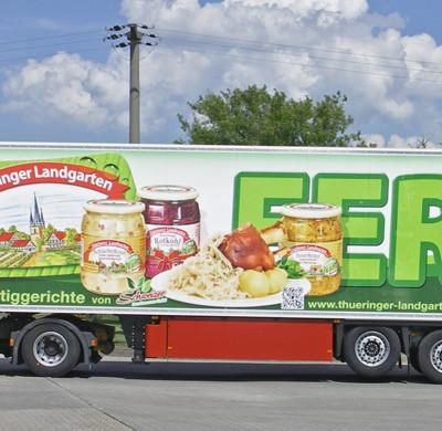 LKW mit Aufschrift Thüringer Landgarten Kraut-Fertigprodukte