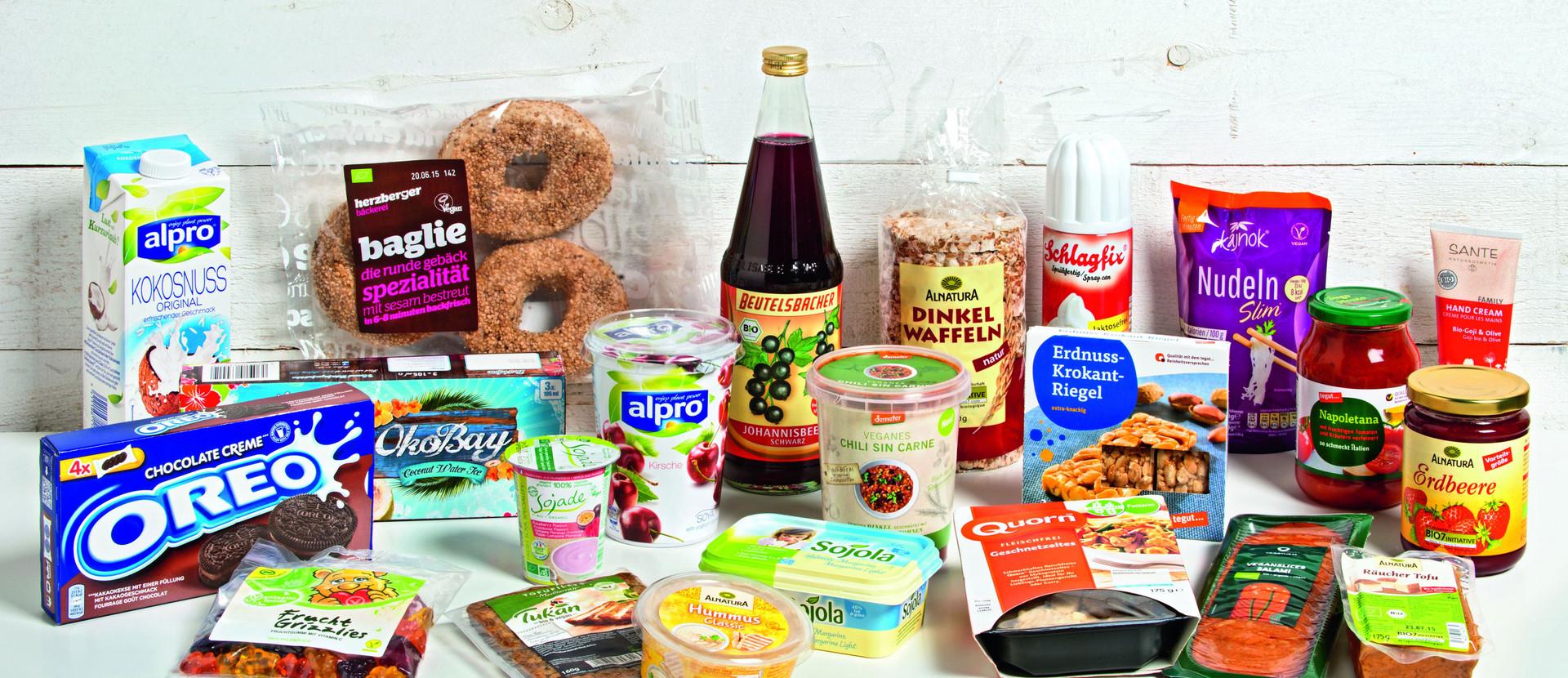Produkte aus dem veganen Lebensmittelsortiment