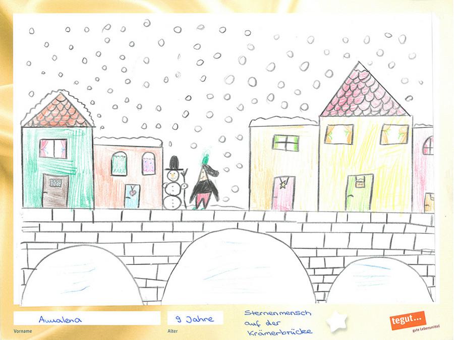 gezeichnete Bild: Häuser auf einer Brücke