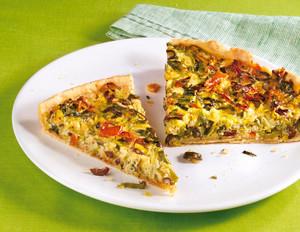 Lauchquiche mit getrockneten Tomaten und Oliven
