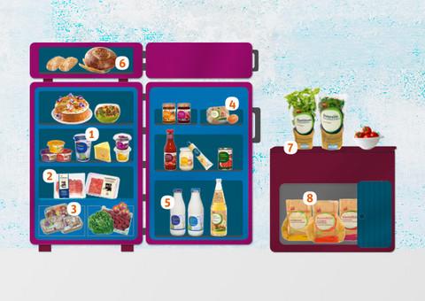 Kühlschrank offen mit Lebensmittel
