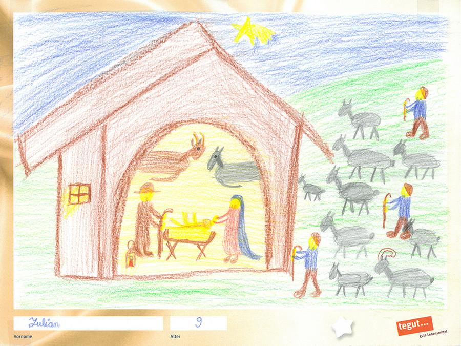 gezeichnete Bild: Weihnachtskrippe mit Maria und Josef