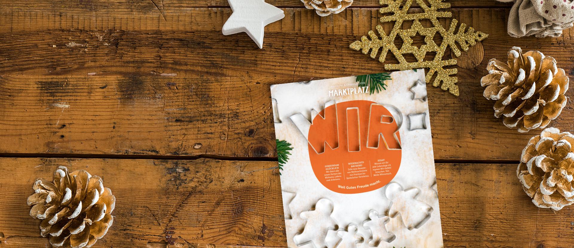 tegut Kundenmagazin November/Dezember 2019 auf Holzhintergrund