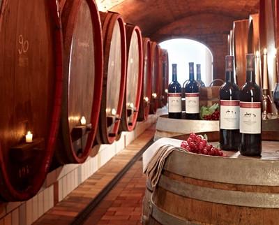 Weinfässer und dazwischen stehen Weinflaschen