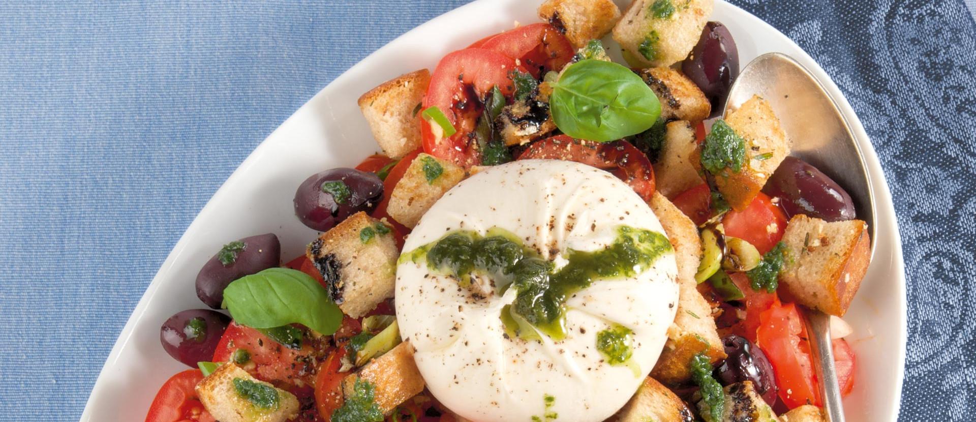 Burratina Tomaten mit Knoblauch-Röstbrot