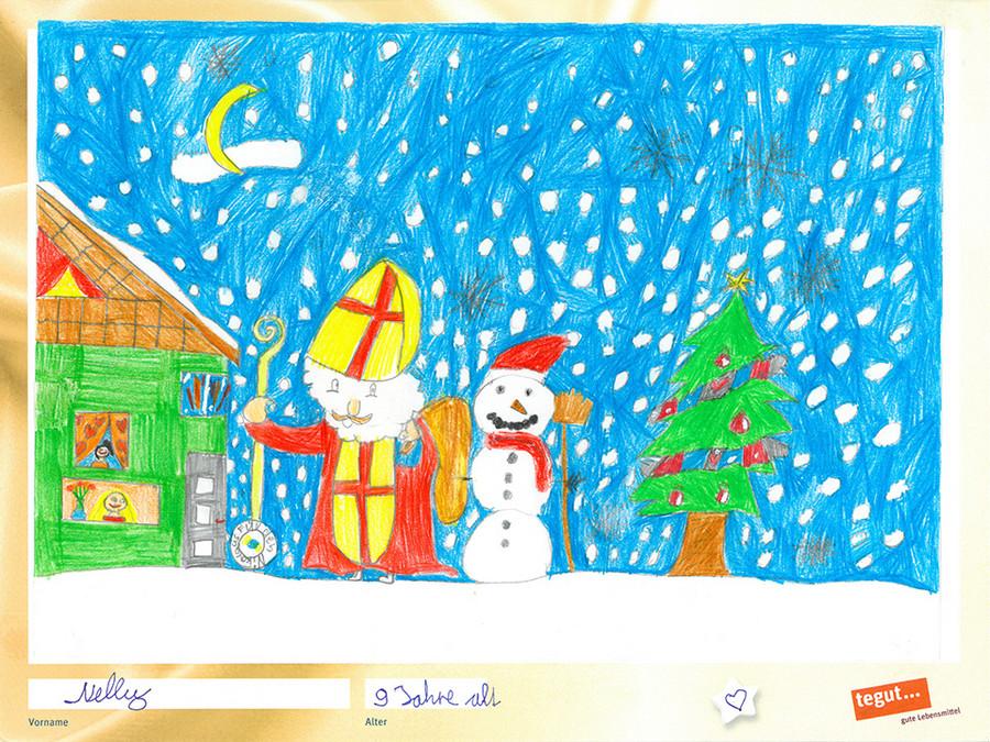 gezeichnete Bild:Nikolaus mit Schneemann