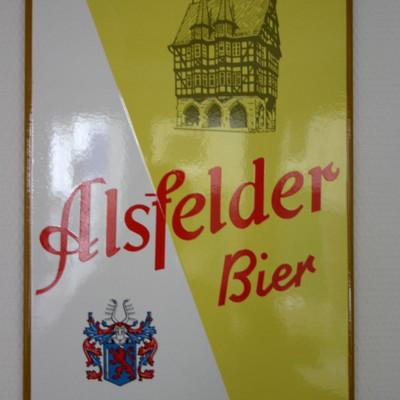 Blechschild mit Schriftzug Alsfelder Bier