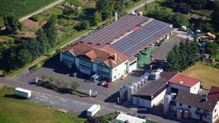 Luftbild der Vollguthalle und Getränkemarkt