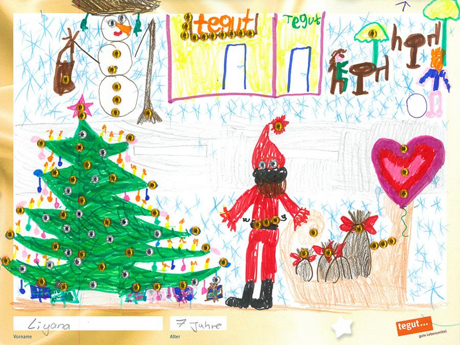 gezeichnete Bild: Weihnachtsbaum mit Nikolaus vor einer tegut... Filiale