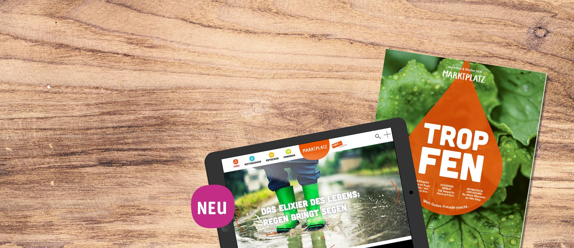 Tablet und tegut Kundenmagazin September/Oktober 2019