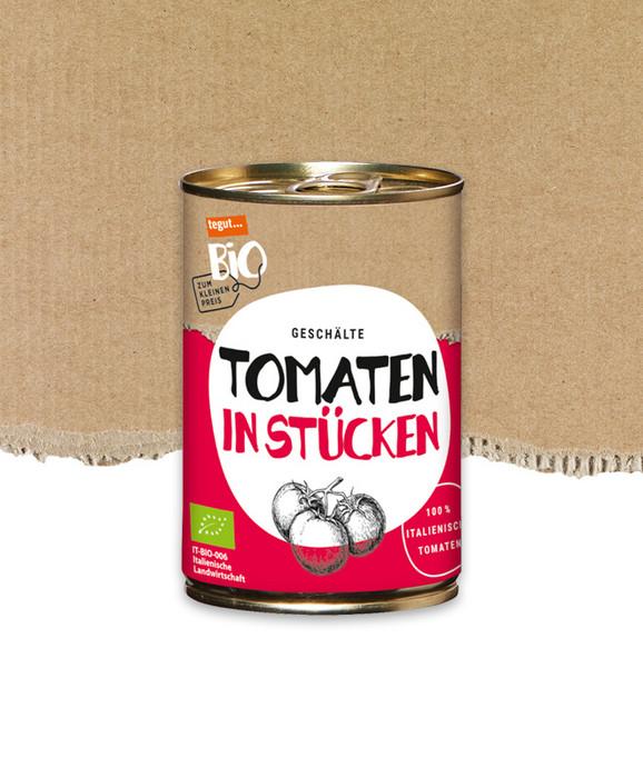 geschälte Bio Tomaten in einer Dose