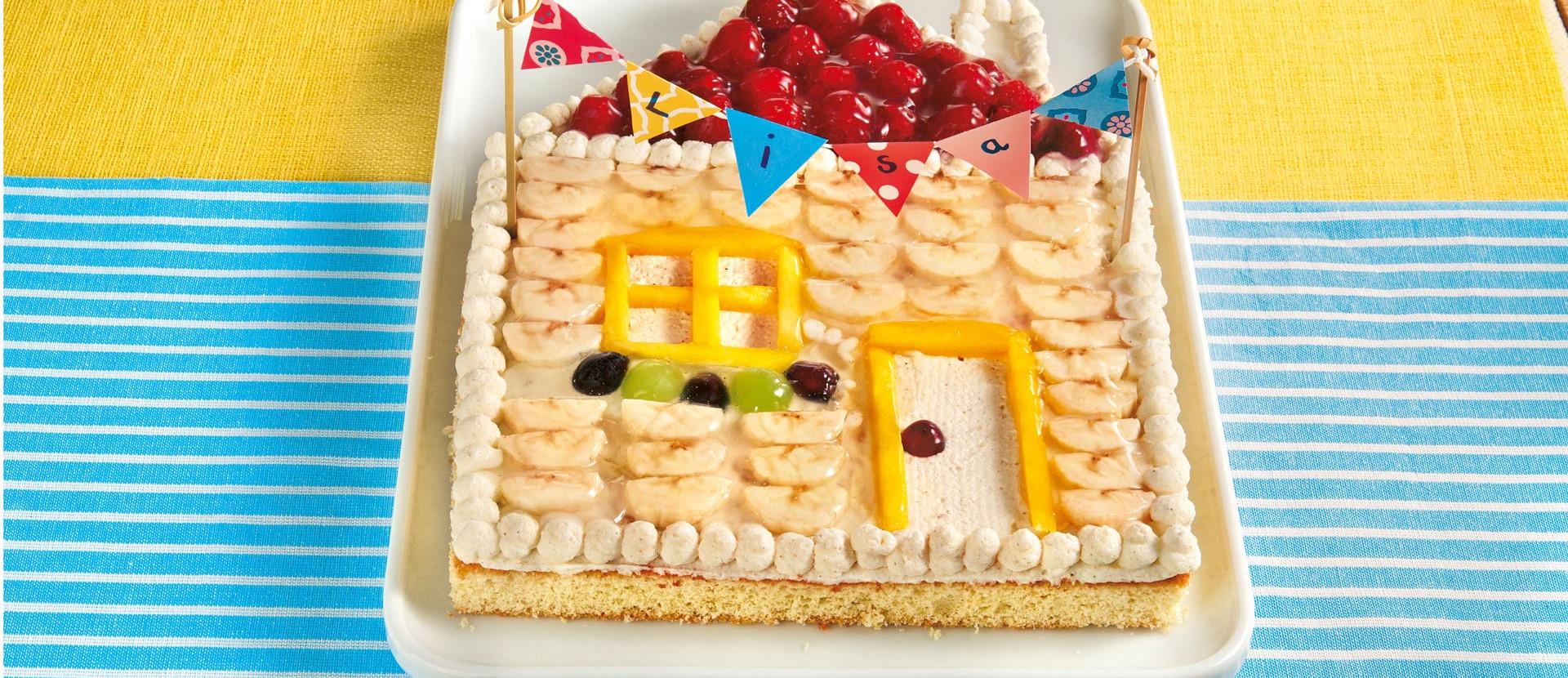 Geburtstagskuchen in Häuschenform