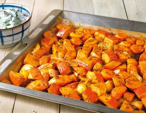 Ofengemüse mit Harissa und Ziegenfrischkäse-Dip