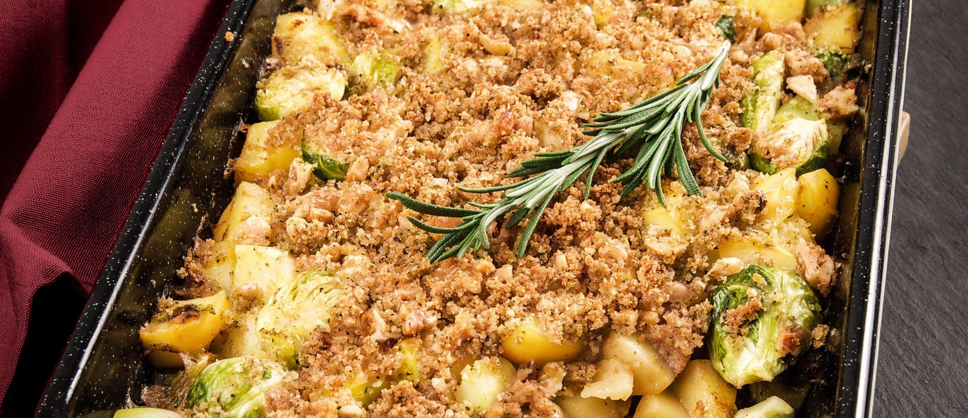 Rosenkohlauflauf Kartoffel Rosmarinstreusel