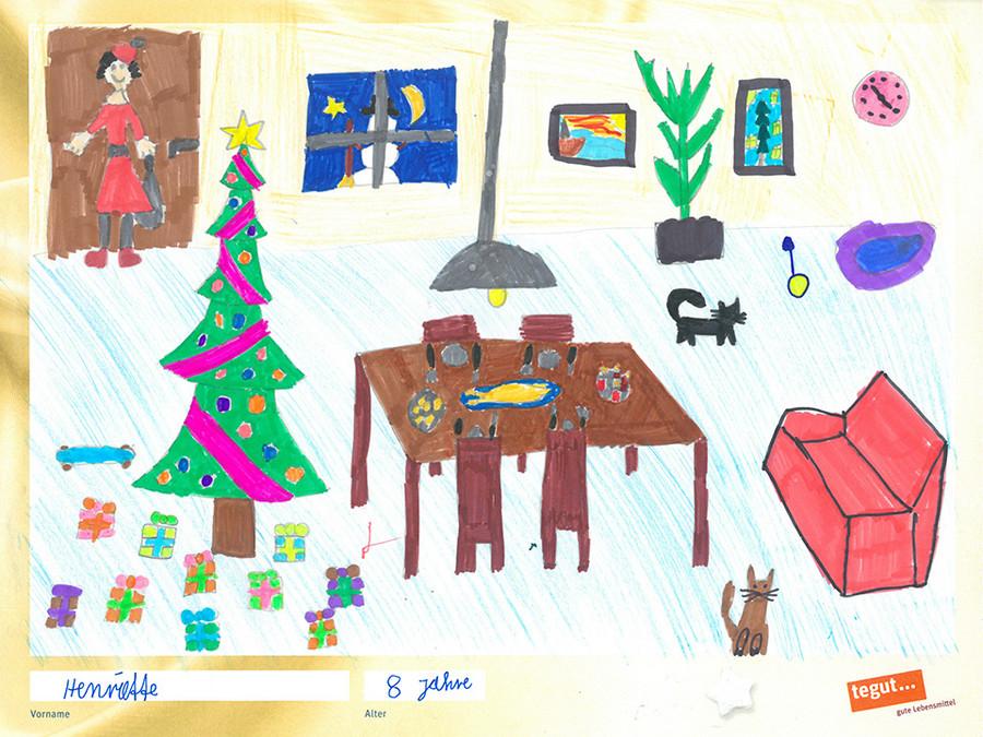 gezeichnete Bild: Wohnung mit Weihnachtsbaum und Geschenken