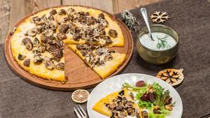 Polenta mit Parmesanecken und Joghurt-Kräuter-Dip