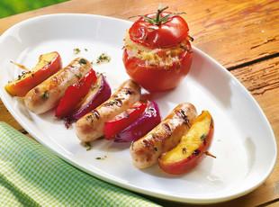 Tell Spieß mit Kartoffeln, Käse und Tomaten