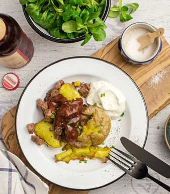 Smashed Potatoes mit BBQ-Mett