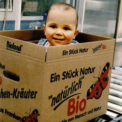 Kleiner Junge im großen Karton auf dem Rollband