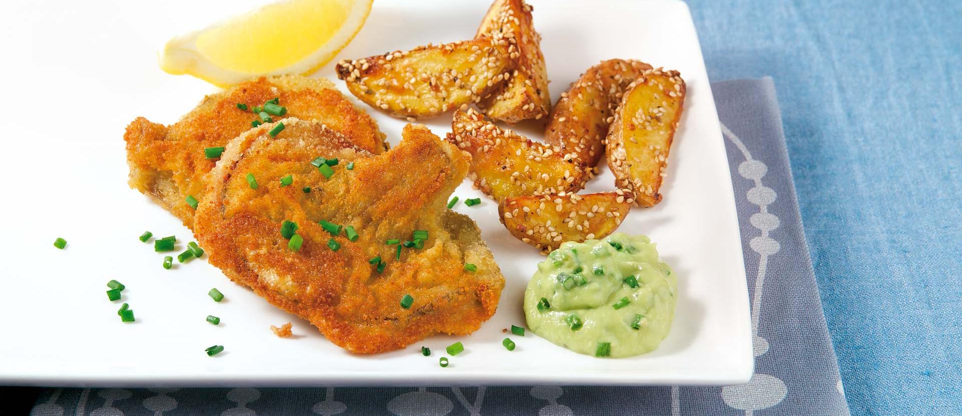Austernpilz-Schnitzel mit Sesam-Kartoffeln und Dip