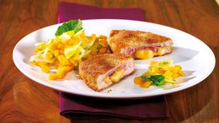 Cordon Bleu mit Kohlrabi Mango Salat
