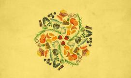 Kreis auf gelbem Hintergrund mit verschiedenen kleinen Abbildungen wie zum Beispiel Wanderschuhe, Hanteln, Bananen, Orangen