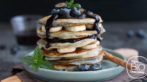 Bananen Heidelbeer Pancakes