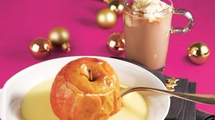 Winter Bratapfel heisse Zimtschokolade