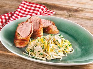 Schweinelende im Baconmantel und Kartoffelsalat