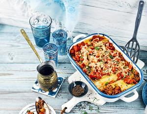Cannelloni-Gratin mit orientalischer Auberginen-Hackfüllung